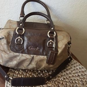 Coach handbag logo fabric & patent leather *FLAWS